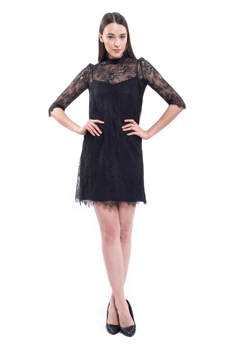 Платье Lusio, цвет: черный. AW18-020020. Размер XS (40/42) платье lusio цвет розовый aw18 020184 размер xs 40 42