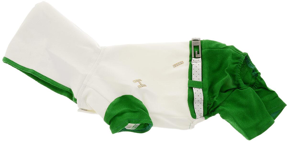 Комбинезон для собак Pret-a-Pet, цвет: белый, зеленый. Размер S. MOS-019MOS-019-S_белый, зеленыйКомбинезон для собак Pret-a-Pet, цвет: белый, зеленый. Размер S. MOS-019