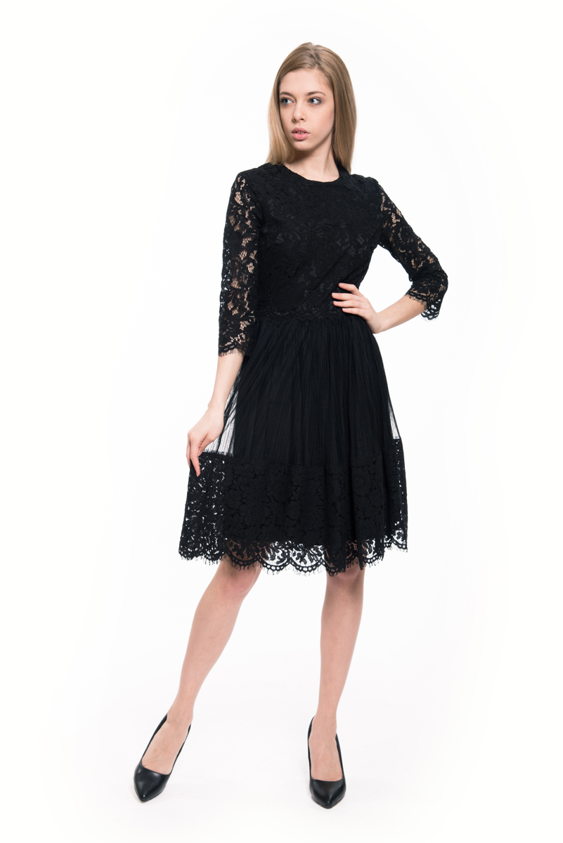 Платье Lusio, цвет: черный. AW18-020059. Размер XS (40/42) платье lusio lusio lu018ewxah67