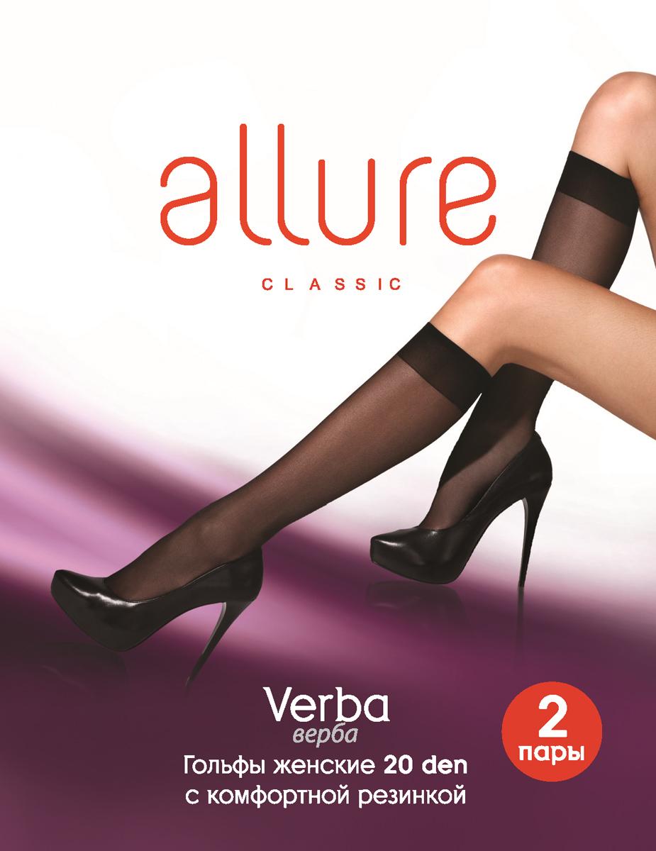 Гольфы Allure Verba 20, цвет: Nero (черный), 2 пары. Размер универсальный гольфы allure verba 40 цвет nero черный 2 пары размер универсальный