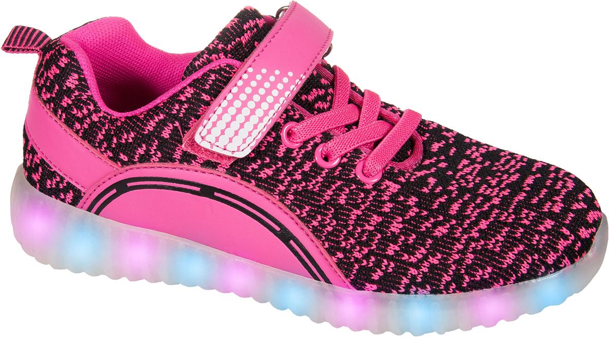 Кроссовки для девочки Mursu, цвет: фуксия. 203536. Размер 29203536Застежка велькро (липучка) и эластичные шнурки. Светящаяся подошва, 15 режимов (видов) подсветки, зарядка от USB - порта (шнур для зарядки в комплекте).