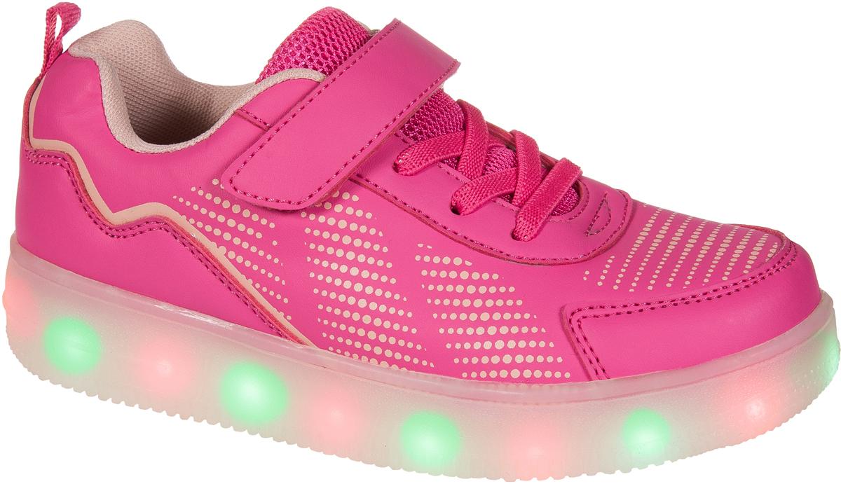 Кроссовки для девочки Mursu, цвет: фуксия. 203550. Размер 37203550Застежка велькро (липучка) и эластичные шнурки. Светящаяся подошва, 15 режимов (видов) подсветки, зарядка от USB - порта (шнур для зарядки в комплекте).