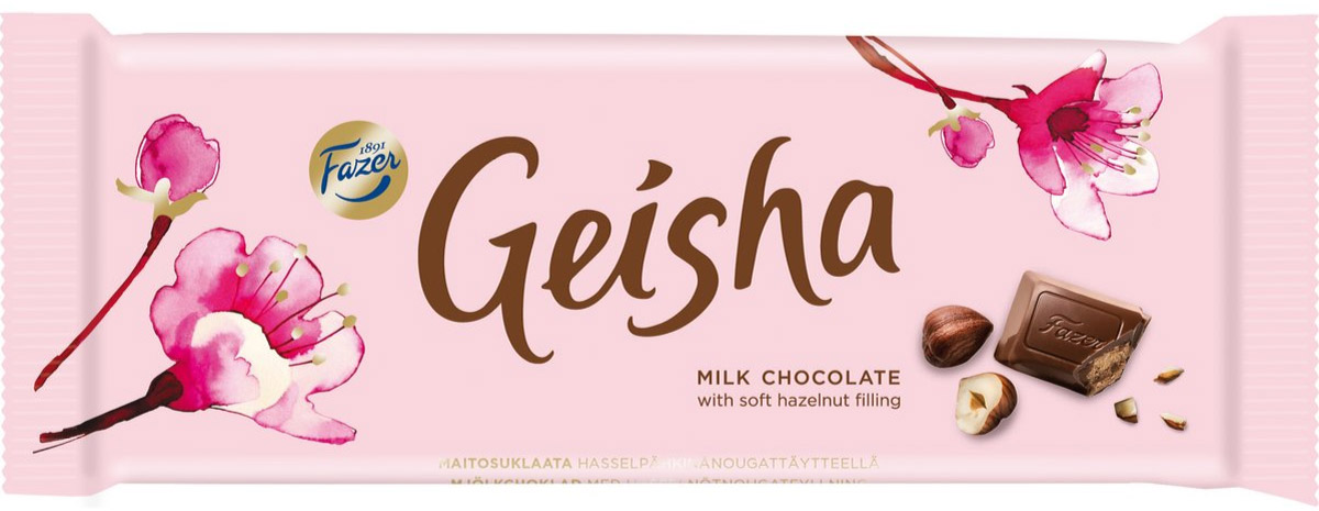 Fazer Geisha Молочный шоколад с нежной начинкой из орехового пралине из фундука, 100 г