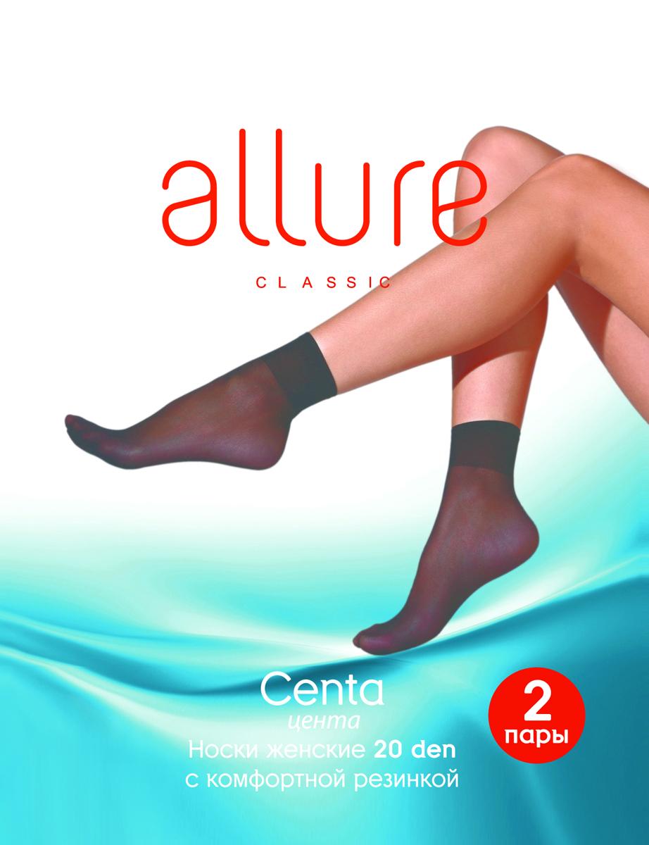 Носки женские Allure Centa 20, цвет: Nero (черный), 2 пары. Размер универсальныйCenta 20Тонкие носки с комфортной резинкой и укрепленным мыском