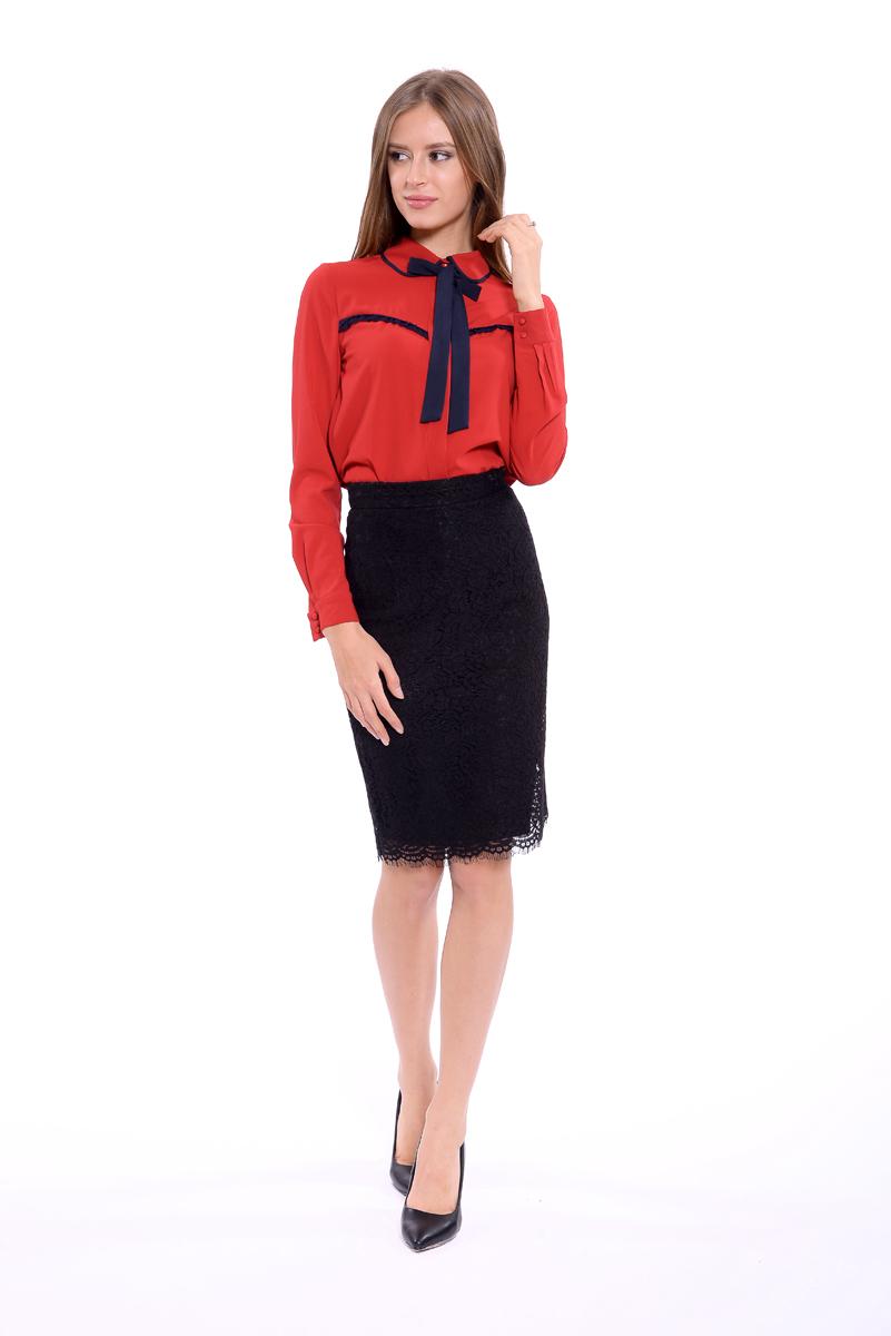 Юбка женская Lusio, цвет: черный. AW18-030094. Размер S (42/44)AW18-030094Кружевная юбка Lusio изготовлена из качественного полиэстера и хлопка. Модель длины миди застегивается сзади на скрытую застежку-молнию.