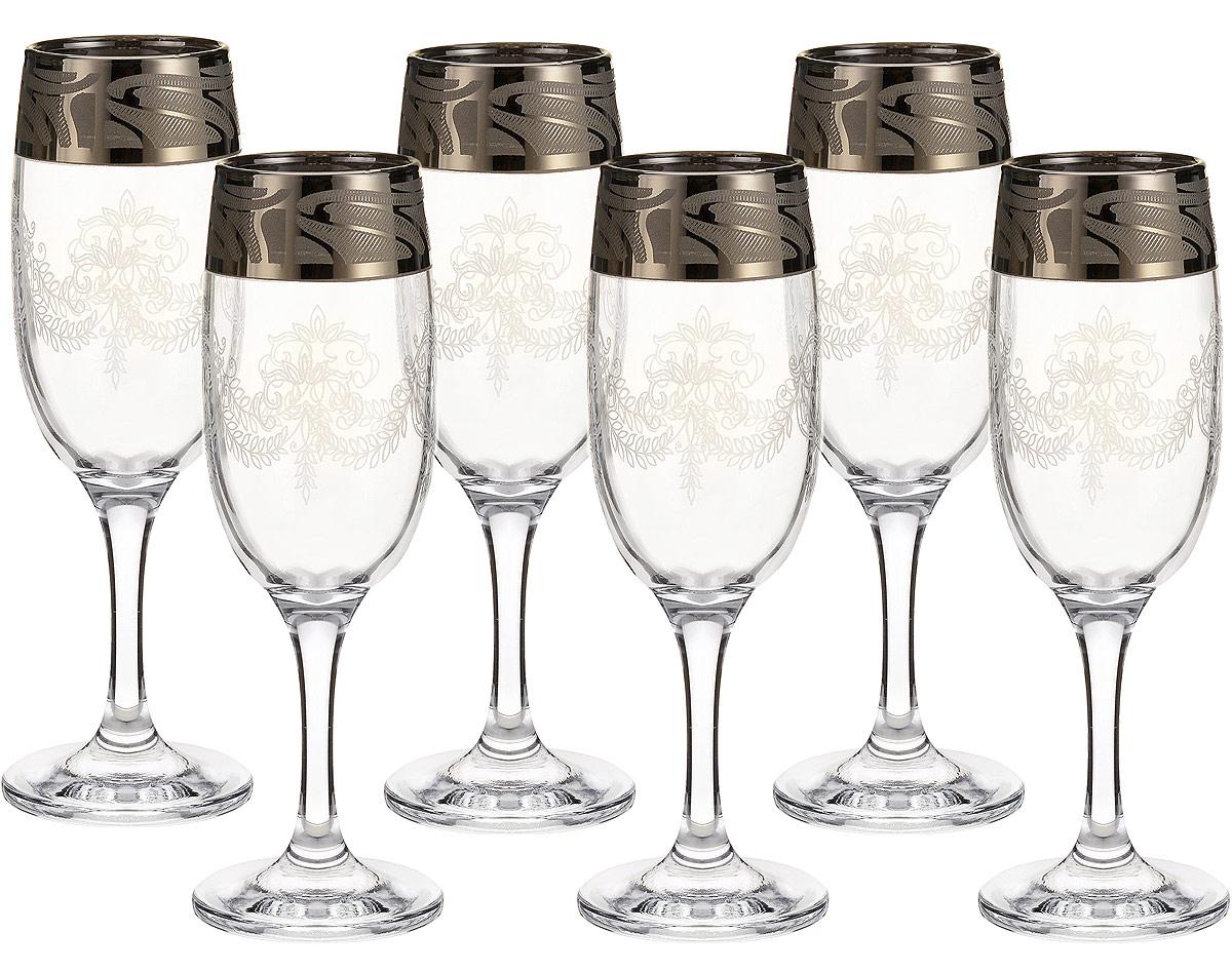 """Набор Гусь-Хрустальный """"Мускат"""" состоит из 6 фужеров для шампанского, изготовленных из высококачественного стекла. Изделия оформлены красивым золотистым орнаментом. Такой набор прекрасно дополнит праздничный стол и станет желанным подарком в любом доме.  Разрешается мыть в посудомоечной машине.  Не использовать в СВЧ печи и на открытом огне. Объем фужера: 190 мл."""