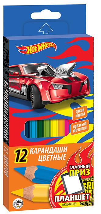 Mattel Набор цветных карандашей Hot Wheels 12 шт, Карандаши  - купить со скидкой