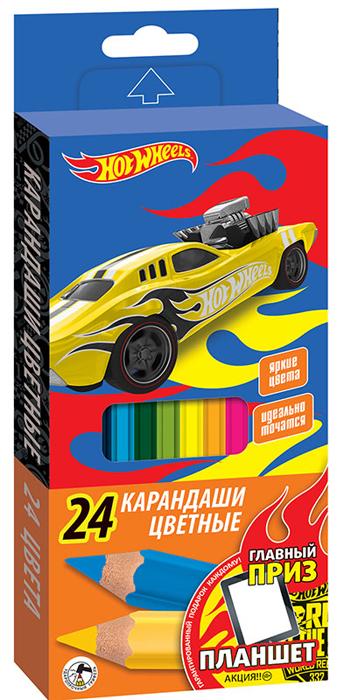 Mattel Набор цветных карандашей Hot Wheels 24 шт070650Пластиковые, ударопрочные цветные карандаши Mattel Hot Wheels насыщенных цветов. Шестигранная форма корпуса снижает усталость и придает дополнительный комфорт. Мягкий грифель проклеен по всей длине корпуса. Длина каждого — 17 см, толщина грифеля — 2,7 мм. Удобная функциональная упаковка.