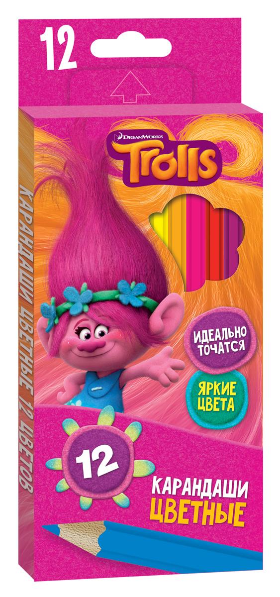 Trolls Набор цветных карандашей Trolls 12 шт070701Пластиковые, ударопрочные цветные карандаши TROLLS насыщенных цветов. Шестигранная форма корпуса снижает усталость и придает дополнительный комфорт. Мягкий грифель проклеен по всей длине корпуса. Длина каждого — 17 см, толщина грифеля — 2,7 мм. Удобная функциональная упаковка.