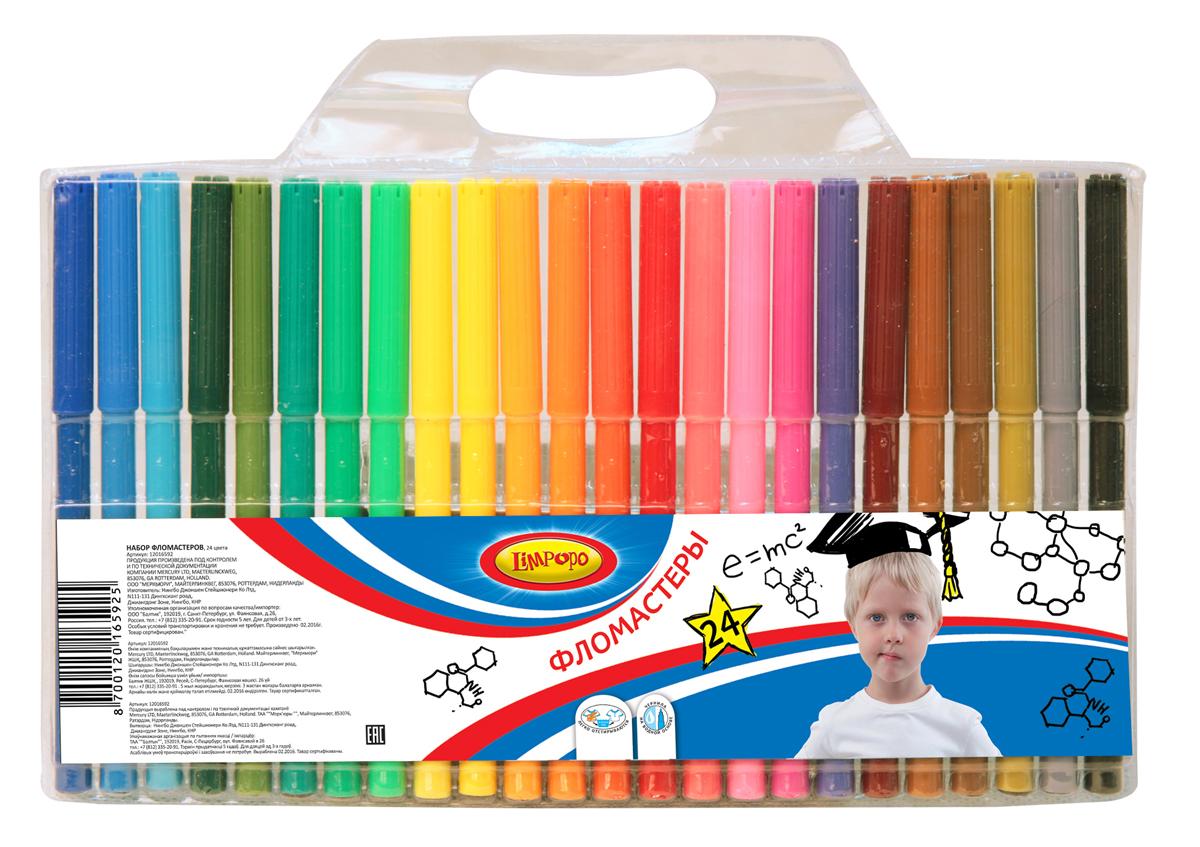 Limpopo Набор фломастеров Супер-Дети 24 шт12016592Фломастеры Limpopo обладают яркими цветами и удобным пластиковым корпусом, который делает процесс рисования максимально комфортным. Чернила на водной основе не токсичны, не имеют запаха, легко смываются с рук и отстирываются с ткани. Вентилируемый колпачок обеспечивает безопасность при использовании фломастеров ребенком (не перекрывает доступ кислорода в случае попадания колпачка в дыхательные пути). Фиксированный пишущий узел не даст стержню провалиться даже при сильном нажатии.
