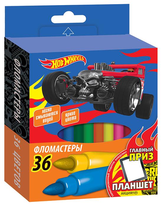 Mattel Набор фломастеров Hot Wheels 36 шт1202227Фломастеры Mattel для раскрашивания, рисования и письма на бумаге. Чернила на водной основе. Толщина линии 1 мм. Вентилируемый колпачок обеспечивает безопасность при использовании фломастеров ребенком