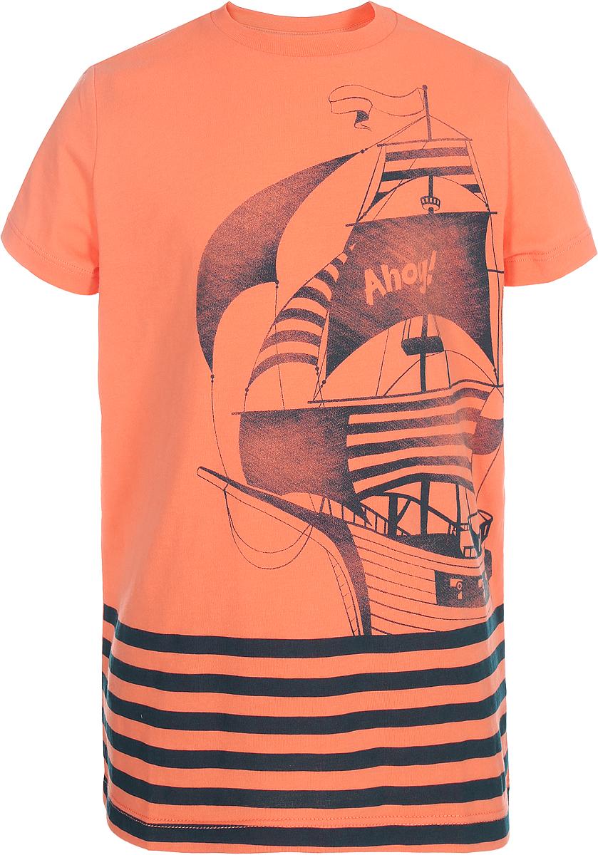 Футболка для мальчика Sela, цвет: оранжевый. Ts-711/549-8132. Размер 116Ts-711/549-8132Футболка для мальчика Sela выполнена из высококачественного материала. Модель с круглым вырезом горловины и короткими рукавами оформлена принтом.