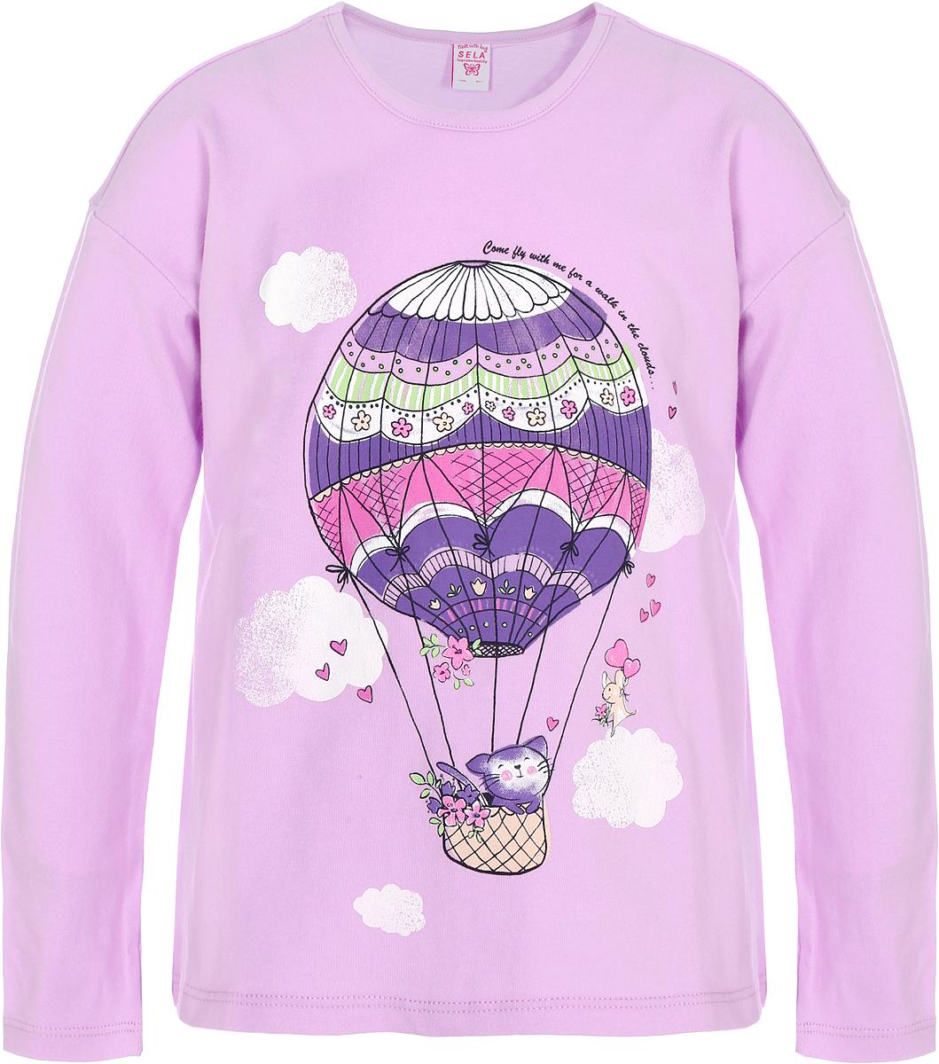 Джемпер для девочки Sela, цвет: розовый. T-511/463-8112. Размер 92T-511/463-8112Джемпер для девочки изготовлен из эластичного хлопка. Модель выполнена с длинными рукавами и круглым вырезом горловины оформлена на груди оригинальным принтом.
