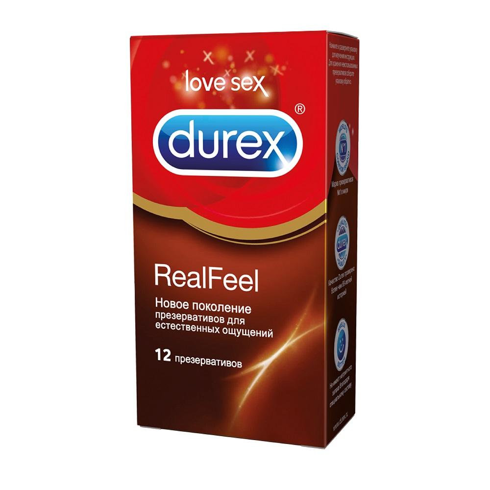 Durex RealFeel Презервативы для естественных ощущений кожа к коже, без латекса, 12 шт