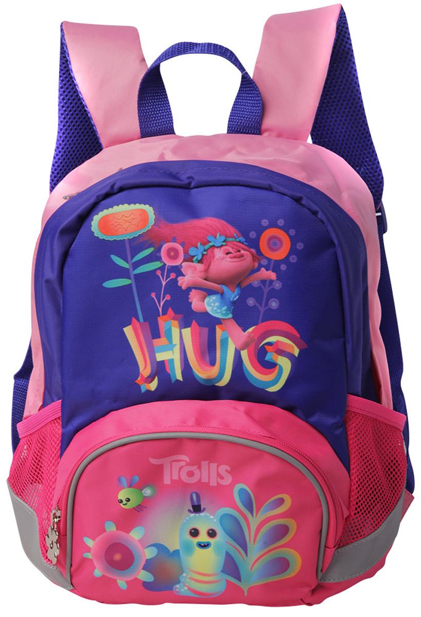 Trolls Школьный рюкзак Fantasy bag Trolls4994997Суперлегкий, компактный, функциональный рюкзак с лицензионным дизайном Trolls. Рюкзак имеет регулируемые лямки эргономичной формы и эргономичную спинку, которая сделана из вентилируемого материала, такая спинка способствует правильному распределению нагрузки на детскую спину и позволяет «дышать» телу. Рюкзак оснащен светоотражающими элементами, которые повышают видимость ребенка на дорогах. Рюкзак выполнен из прочной водонепроницаемой ткани с термотрансферной печатью. Рюкзак вмещает в себя школьные принадлежности формата А4. Размер: 32*23*12см Вес: 300г Объем: 9 л