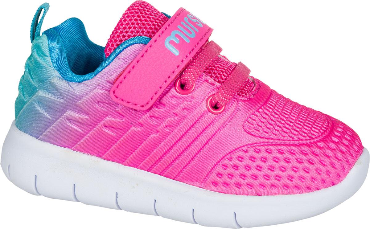 Кроссовки для девочки Mursu, цвет: фуксия, голубой. 203004. Размер 23203004Застежка велькро (липучка) и эластичные шнурки.