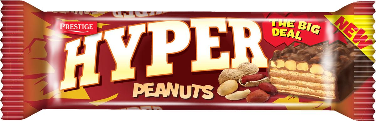 Hyper вафли с арахисом в какао глазури, 80 г вафли обожайка вкус сливки 225 г