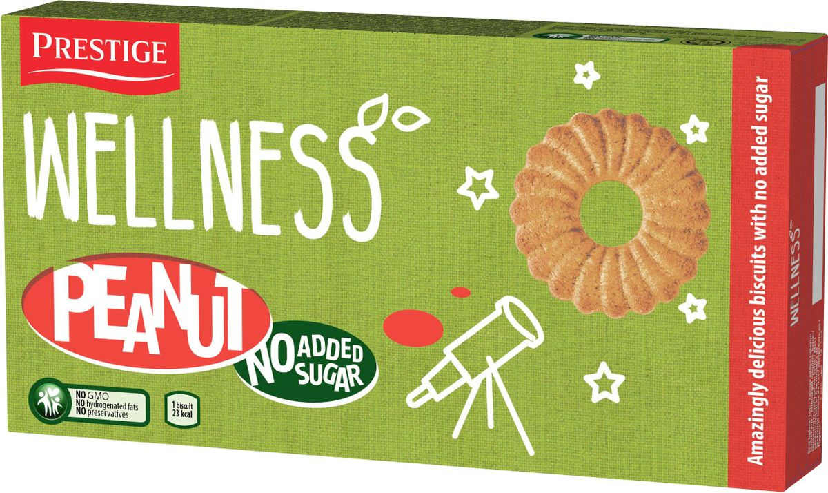 Wellness арахисовое печенье без сахара, 115 г prestige печенье с пралине 134 г