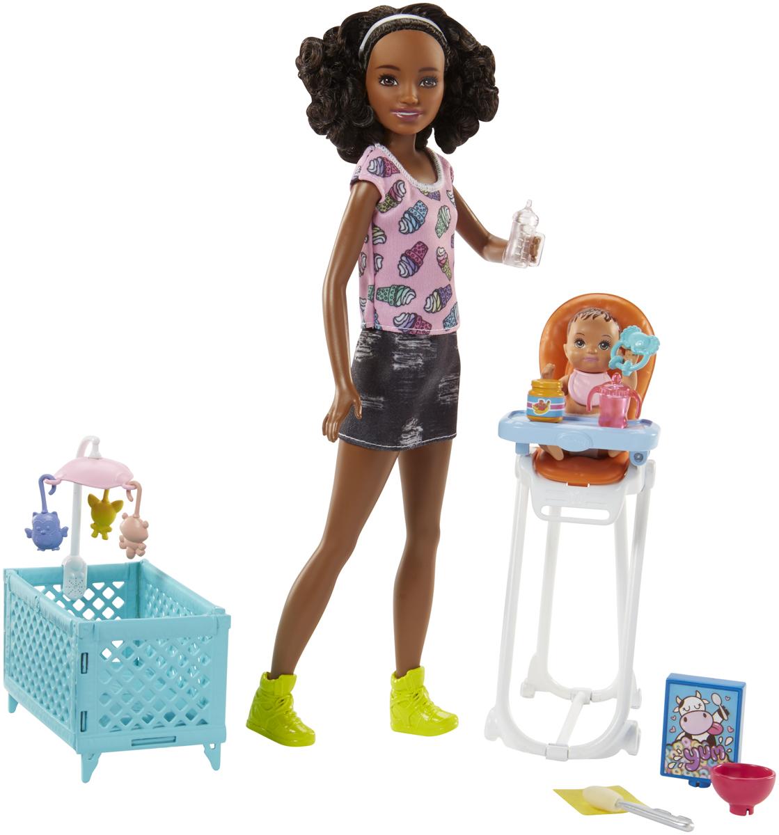 Barbie Игровой набор с куклой Няня кукла barbie космические приключения с летающим котом попкорном 29 см