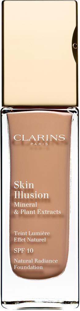 Clarins Увлажняющий тональный крем, придающий сияние коже SPF10 Skin Illusion 110,5, 30 мл04025510Тональный крем с легкой текстурой моментально сливается с кожей и создает абсолютно невидимое покрытие, деликатно выравнивающее тон. Формула на основе растительных и минеральных компонентов ухаживает за кожей в течение дня, помогая подчеркнуть ее естественную красоту. Экстракт розовой водоросли увлажняет и стимулирует клеточное обновление. Комплекс Light-Optimizing+ в сочетании с пудрой розового опала придает коже здоровое сияние. Эксклюзивный комплекс Clarins Anti-Pollution защищает от вредного воздействия загрязнений.