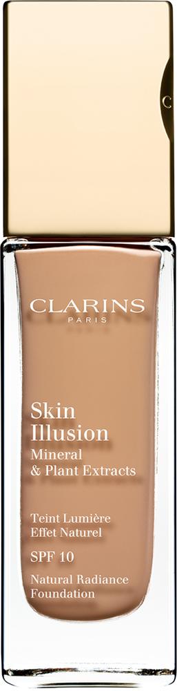Clarins Увлажняющий тональный крем, придающий сияние коже SPF10 Skin Illusion 112,5, 30 мл04025610Тональный крем с легкой текстурой моментально сливается с кожей и создает абсолютно невидимое покрытие, деликатно выравнивающее тон. Формула на основе растительных и минеральных компонентов ухаживает за кожей в течение дня, помогая подчеркнуть ее естественную красоту. Экстракт розовой водоросли увлажняет и стимулирует клеточное обновление. Комплекс Light-Optimizing+ в сочетании с пудрой розового опала придает коже здоровое сияние. Эксклюзивный комплекс Clarins Anti-Pollution защищает от вредного воздействия загрязнений.