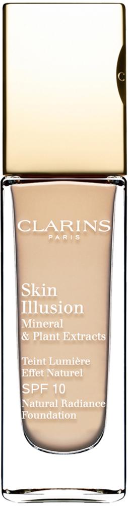 Clarins Увлажняющий тональный крем, придающий сияние коже SPF10 Skin Illusion 105, 30 мл04026510Тональный крем с легкой текстурой моментально сливается с кожей и создает абсолютно невидимое покрытие, деликатно выравнивающее тон. Формула на основе растительных и минеральных компонентов ухаживает за кожей в течение дня, помогая подчеркнуть ее естественную красоту. Экстракт розовой водоросли увлажняет и стимулирует клеточное обновление. Комплекс Light-Optimizing+ в сочетании с пудрой розового опала придает коже здоровое сияние. Эксклюзивный комплекс Clarins Anti-Pollution защищает от вредного воздействия загрязнений.