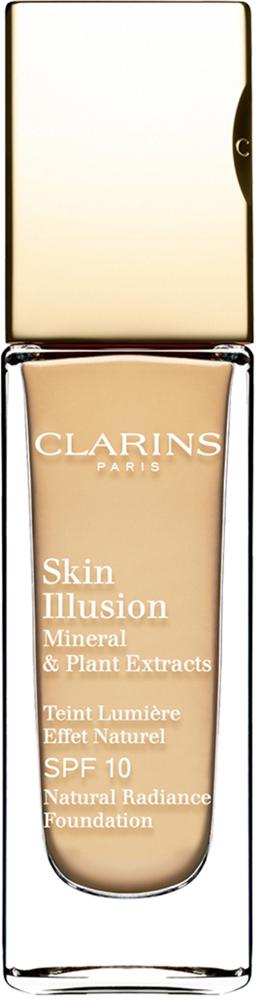 Clarins Увлажняющий тональный крем, придающий сияние коже SPF10 Skin Illusion 107, 30 мл04026710Тональный крем с легкой текстурой моментально сливается с кожей и создает абсолютно невидимое покрытие, деликатно выравнивающее тон. Формула на основе растительных и минеральных компонентов ухаживает за кожей в течение дня, помогая подчеркнуть ее естественную красоту. Экстракт розовой водоросли увлажняет и стимулирует клеточное обновление. Комплекс Light-Optimizing+ в сочетании с пудрой розового опала придает коже здоровое сияние. Эксклюзивный комплекс Clarins Anti-Pollution защищает от вредного воздействия загрязнений.