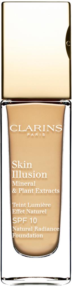 Clarins Увлажняющий тональный крем, придающий сияние коже SPF10 Skin Illusion 109, 30 мл04026910Тональный крем с легкой текстурой моментально сливается с кожей и создает абсолютно невидимое покрытие, деликатно выравнивающее тон. Формула на основе растительных и минеральных компонентов ухаживает за кожей в течение дня, помогая подчеркнуть ее естественную красоту. Экстракт розовой водоросли увлажняет и стимулирует клеточное обновление. Комплекс Light-Optimizing+ в сочетании с пудрой розового опала придает коже здоровое сияние. Эксклюзивный комплекс Clarins Anti-Pollution защищает от вредного воздействия загрязнений.