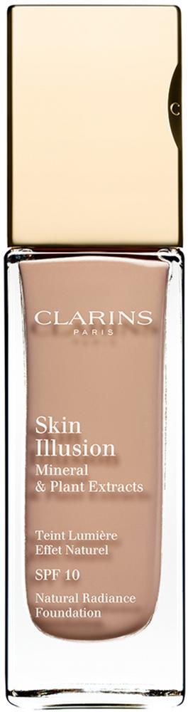 Clarins Увлажняющий тональный крем, придающий сияние коже SPF10 Skin Illusion 112, 30 мл04027210Тональный крем с легкой текстурой моментально сливается с кожей и создает абсолютно невидимое покрытие, деликатно выравнивающее тон. Формула на основе растительных и минеральных компонентов ухаживает за кожей в течение дня, помогая подчеркнуть ее естественную красоту. Экстракт розовой водоросли увлажняет и стимулирует клеточное обновление. Комплекс Light-Optimizing+ в сочетании с пудрой розового опала придает коже здоровое сияние. Эксклюзивный комплекс Clarins Anti-Pollution защищает от вредного воздействия загрязнений.
