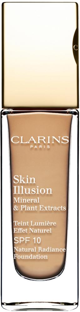 Clarins Увлажняющий тональный крем, придающий сияние коже SPF10 Skin Illusion 114, 30 мл04027410Тональный крем с легкой текстурой моментально сливается с кожей и создает абсолютно невидимое покрытие, деликатно выравнивающее тон. Формула на основе растительных и минеральных компонентов ухаживает за кожей в течение дня, помогая подчеркнуть ее естественную красоту. Экстракт розовой водоросли увлажняет и стимулирует клеточное обновление. Комплекс Light-Optimizing+ в сочетании с пудрой розового опала придает коже здоровое сияние. Эксклюзивный комплекс Clarins Anti-Pollution защищает от вредного воздействия загрязнений.