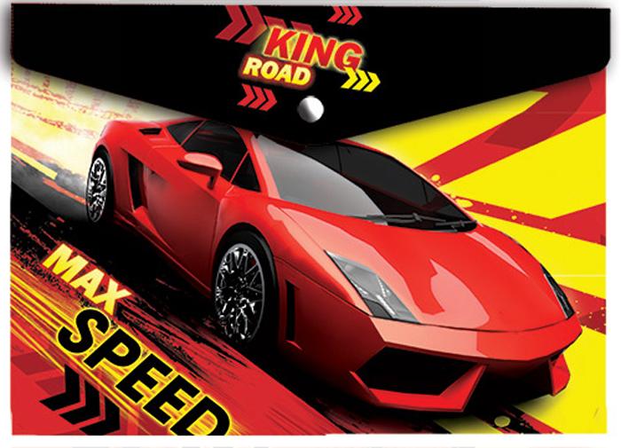 Limpopo Папка-конверт на кнопке Max speed формат А422053013Папка-конверт пластиковая с кнопкой 180 мк А4 Limpopo с дизайном Max Speed