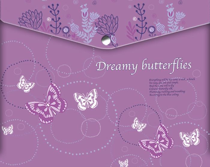 Limpopo Папка для тетрадей Dreamy Butterflies22053101Папка-конверт пластиковая с кнопкой 180 мк под росcийскую тетрадь с дизайном Limpopo Dreamy Butterflies