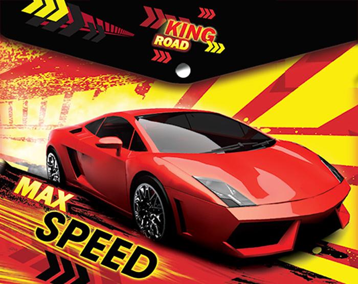 Limpopo Папка для тетрадей Max speed22053105Папка-конверт пластиковая с кнопкой 180 мк под росcийскую тетрадь с дизайном Limpopo Max Speed