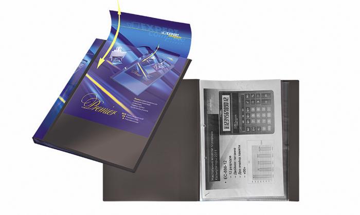 Expert Complete Папка для презентаций Premier формат А4 221641221641Папка для презентаций на 20 страниц Expert Complete Premier формата А4. Оснащена торцевым карманом с цветной вложкой для подписи и лицевым карманом, который позволяет оформить папку под любые цели. Удобна для демонстрации документов, не требует их предварительной перфорации для подшивания в папку. Толщина одного слоя вкладыша - 42 мк. Страницы обладают антистатическим эффектом (страницы не слипаются). Ширина корешка - 20 мм. Папка изготовлена из экологически чистого полипропилена толщиной 0,7 мм