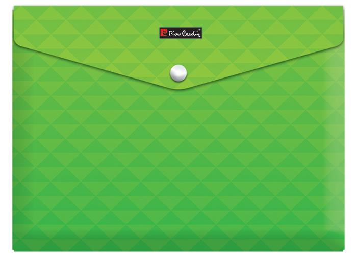 Pierre Cardin Папка-конверт на кнопке Geometrie Green папки канцелярские pierre cardin папка каталог 40 листов geometrie pink