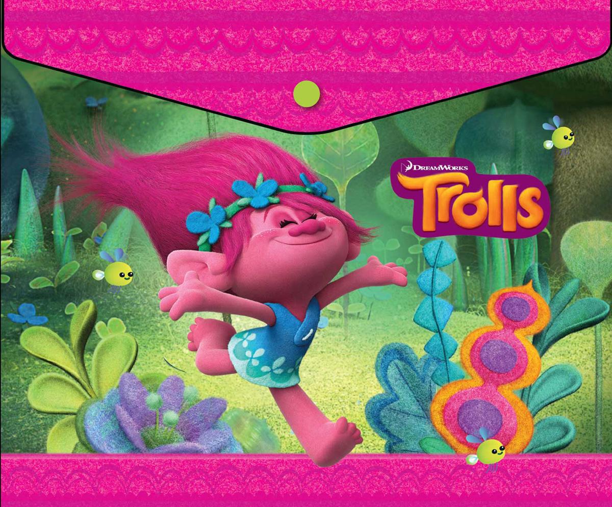 Trolls Папка-конверт на кнопке Trolls формат А5+ 42533994253399Папка-конверт пластиковая с кнопкой 180 мк под росcийскую тетрадь с дизайном. Формат А5+. Материал - полипропилен.Размер: 25 х 21 см.