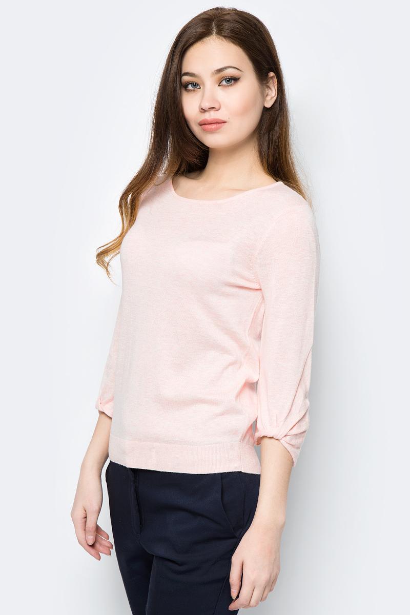 Джемпер женский Sela, цвет: розовый. JR-114/683-8112. Размер S (44)JR-114/683-8112Женский джемпер изготовлен из эластичного смесового материала. Модель свободного кроя с укороченными рукавами и вязаной резинкой по низу изделия.