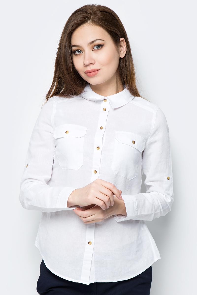 Блузка женская Sela, цвет: белый. B-112/294-8152. Размер 44B-112/294-8152Женская блузка изготовлена из плотной ткани и дополнена двумя карманами. У модели прямой крой, отложной воротник, застежка на пуговицы. Длинные рукава с манжетами на пуговицах.