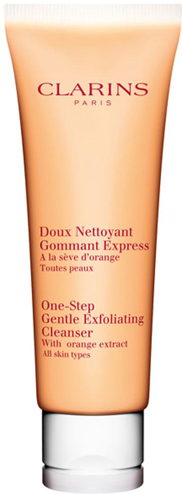 Clarins Очищающий пенящийся крем с отшелушивающим эффектом Doux Nettoyant Gommant Express, 125 мл clarins смягчающий и отшелушивающий лосьон улучшающий цвет лица doux exfoliant 125 мл