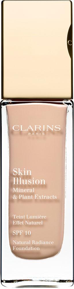Clarins Увлажняющий тональный крем, придающий сияние коже SPF10 Skin Illusion 103, 30 мл04026310Тональный крем с легкой текстурой моментально сливается с кожей и создает абсолютно невидимое покрытие, деликатно выравнивающее тон. Формула на основе растительных и минеральных компонентов ухаживает за кожей в течение дня, помогая подчеркнуть ее естественную красоту. Экстракт розовой водоросли увлажняет и стимулирует клеточное обновление. Комплекс Light-Optimizing+ в сочетании с пудрой розового опала придает коже здоровое сияние. Эксклюзивный комплекс Clarins Anti-Pollution защищает от вредного воздействия загрязнений.