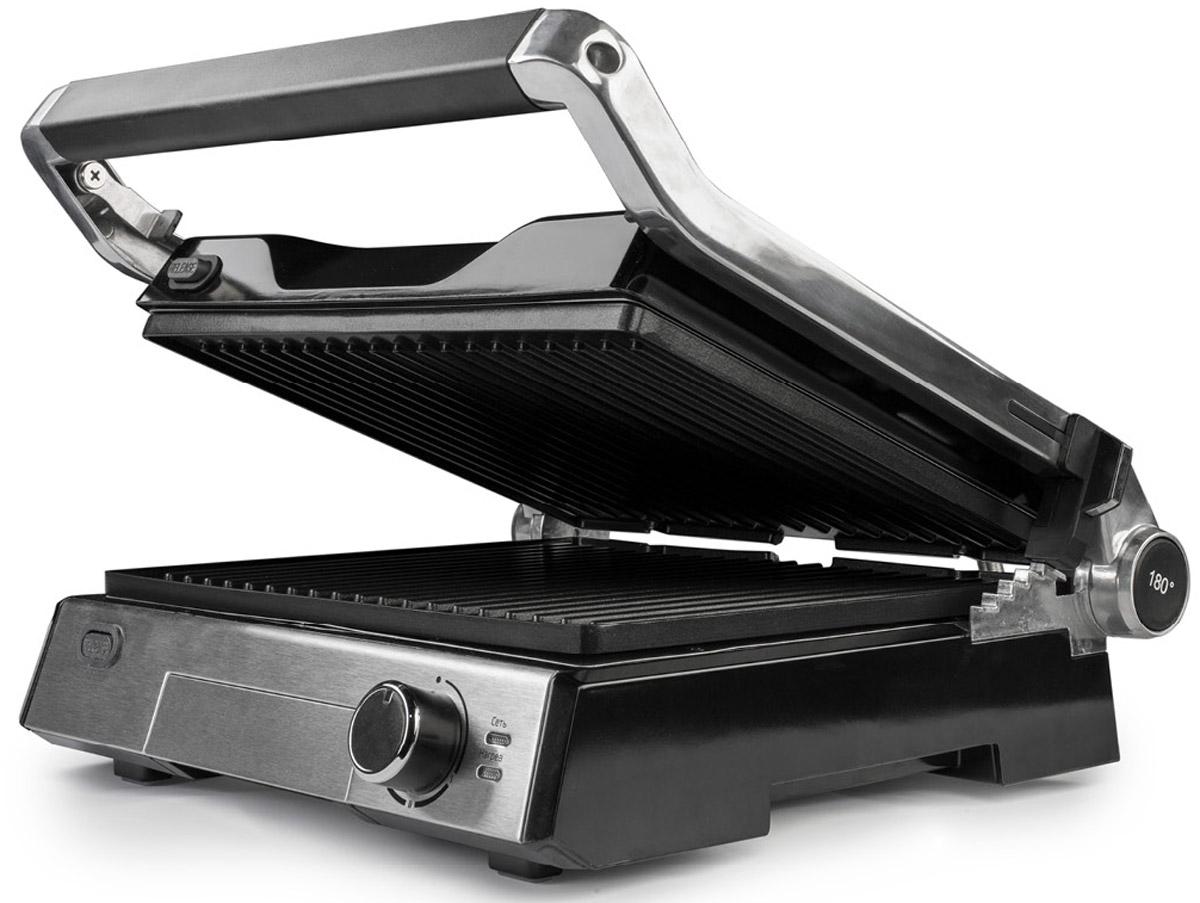 Kitfort КТ-1602 электрогрильКТ-1602Контактный электрический гриль Kitfort КТ-1602 позволяет приготовлять стейки, овощи, рыбу, бутерброды, гренки имногое другое. Ребристая поверхность рабочих пластин и высокая температура приготовления способствуютудалению излишков жира из продуктов.Конструкция 3 в 1 позволяет использовать гриль в трех режимах. В двухстороннем режиме гриль закрываетсякрышкой, и продукты готовятся одновременно с двух сторон. В режиме с приподнятой крышкой верхняя крышканависает над готовящимися продуктами, но не касается их. Это бывает необходимо в случае, если требуетсядвусторонний нагрев, но куски продуктов имеют неодинаковую толщину, либо если требуется исключитьдавление крышки на них. Например, в этом режиме можно приготовить бутерброд или разогреть пиццу.В одностороннем режиме крышка гриля откидывается на 180 °С, и гриль превращается в большую жаровню. Дляприготовления можно использовать обе поверхности.Гриль оснащен термостатом с плавной регулировкой, позволяющим выставить температуру вплоть до 230 °С.Нагревательные панели изготовлены из алюминия с нанесенным антипригарным покрытием. Они съемные и могутбыть легко очищены. Допускается их мойка в посудомоечной машине.Съемные рабочие панели Материал рабочей поверхности: алюминий с нанесенным антипригарным покрытием