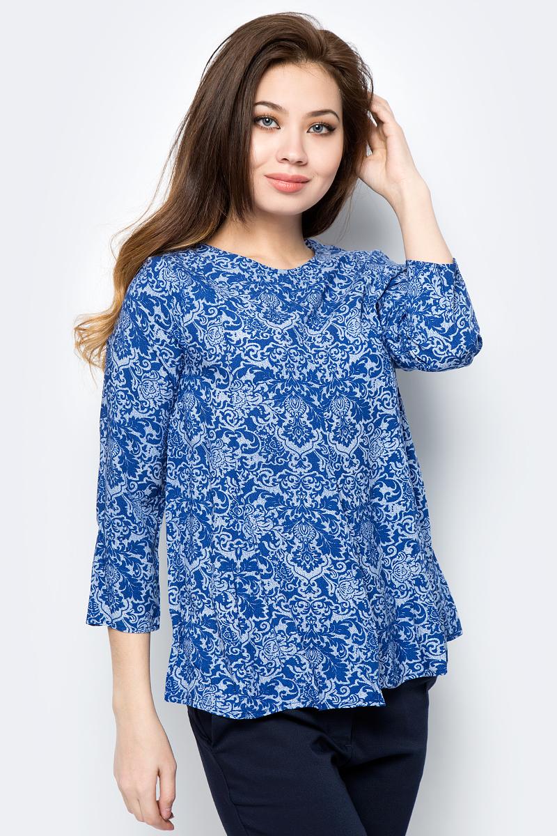 Блузка женская Sela, цвет: синий. Tw-112/232-8122. Размер 48Tw-112/232-8122Блузка изготовлена из качественной вискозы. У модели свободный крой и рукава длиной ?. Блузка застегивается сзади на пуговицу.
