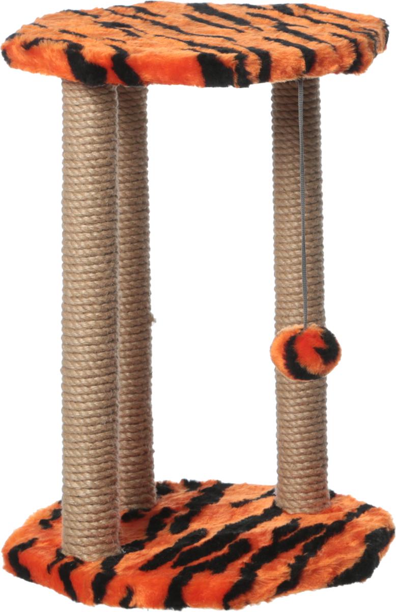 Когтеточка Велес, с игрушкой, цвет: оранжевый, черный, 35 х 35 х 50 см25_оранжевый, черныйКогтеточка Велес выполнена из высококачественного ДСП и обтянута искусственным мехом.Изделие предназначено для кошек. Ваш домашний питомец будет с удовольствием точить когтио специальные столбики, изготовленные из джута. А отдохнуть он сможет на полке. Изделиеснабжено подвесной игрушкой.Когтеточка Велес принесет пользу не только вашемупитомцу, но и вам, так как он сохранит мебель от когтей и шерсти.