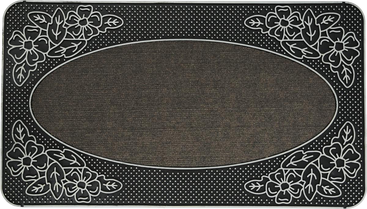 """Придверный коврик Paterra """"Роскошный"""" препятствует проникновению грязи в помещение. Коврик  выполнен из ПВХ, благодаря чему он надежно фиксируется на полу. Верхняя часть коврика так же  содержит фрагменты из полипропилена, которые обеспечивают хорошее очищение вашей обуви.  Благодаря оптимальной толщине, коврик будет радовать вас долгое время."""