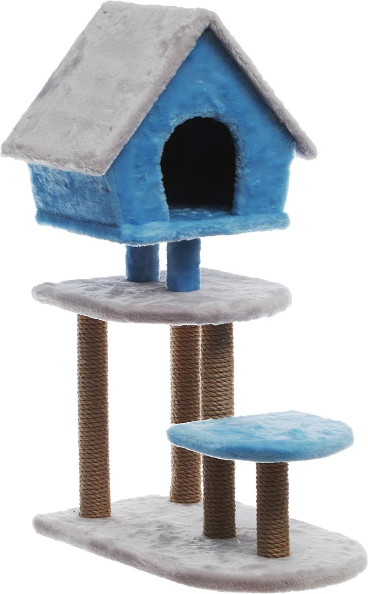 Домик-когтеточка Велес  Скворечник , 3-этажный, с домиком, цвет: голубой, серый, 37 х 60 х 90 см - Когтеточки и игровые комплексы