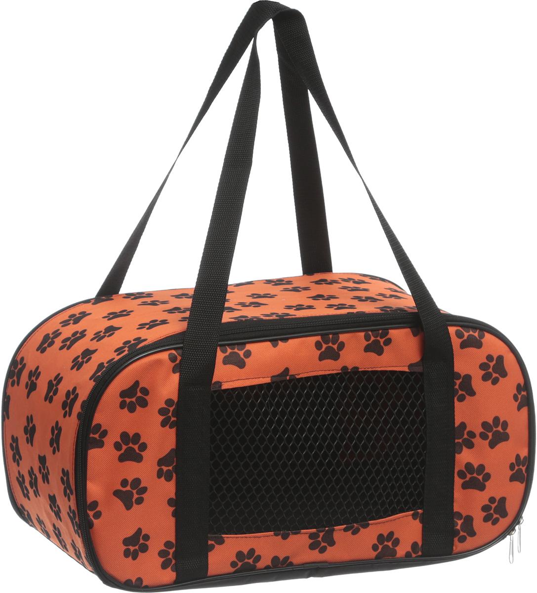 Сумка-переноска для животных Теремок, цвет: оранжевый, черный, 47 х 24 х 22 см игрушка для животных каскад удочка с микки маусом 47 см