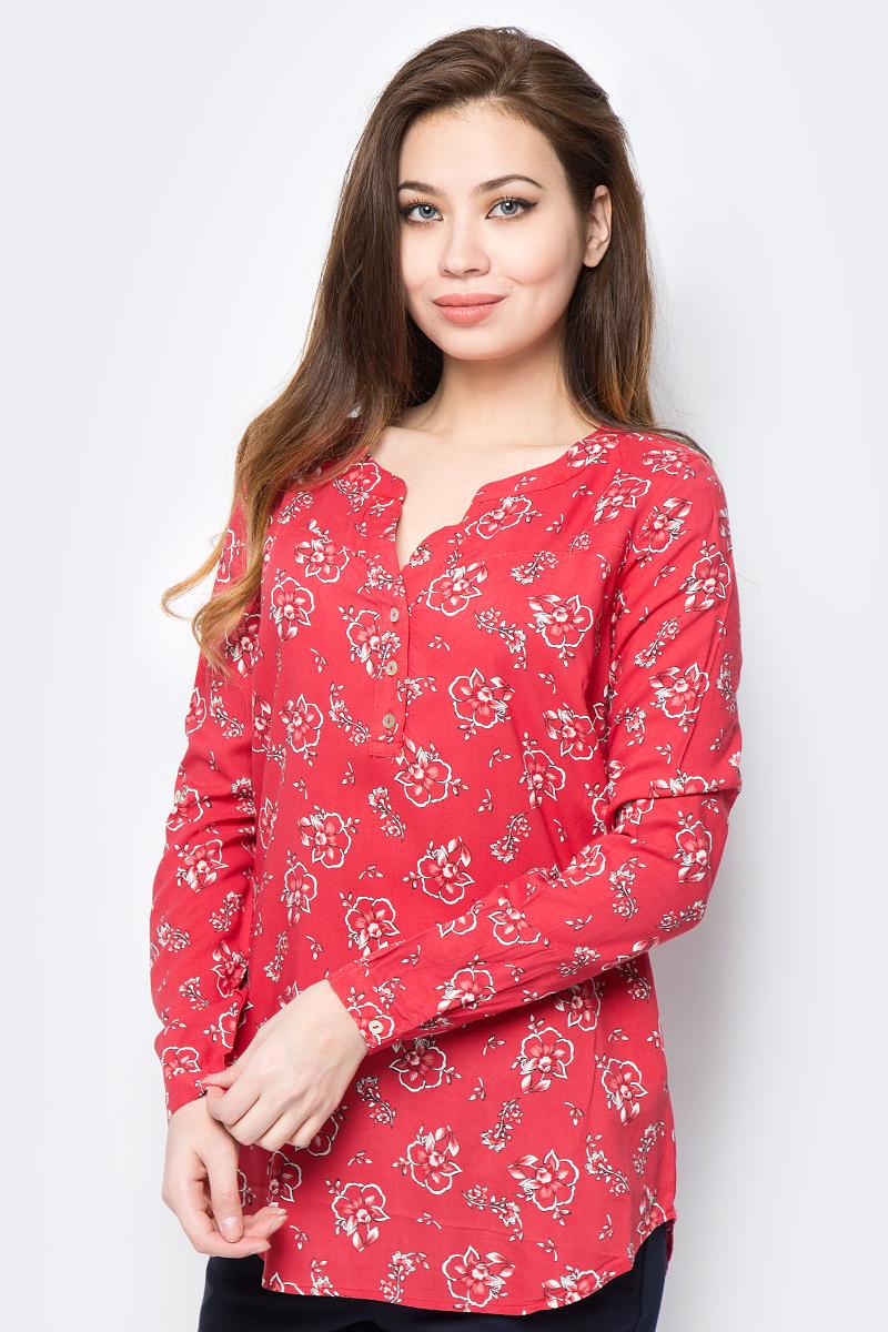 Блузка женская Sela, цвет: красный. B-112/800-8152. Размер 48B-112/800-8152Блузка изготовлена из качественной вискозы. Модель свободного кроя с длинными рукавами. Блузка застегивается спереди сверху на пуговицы.