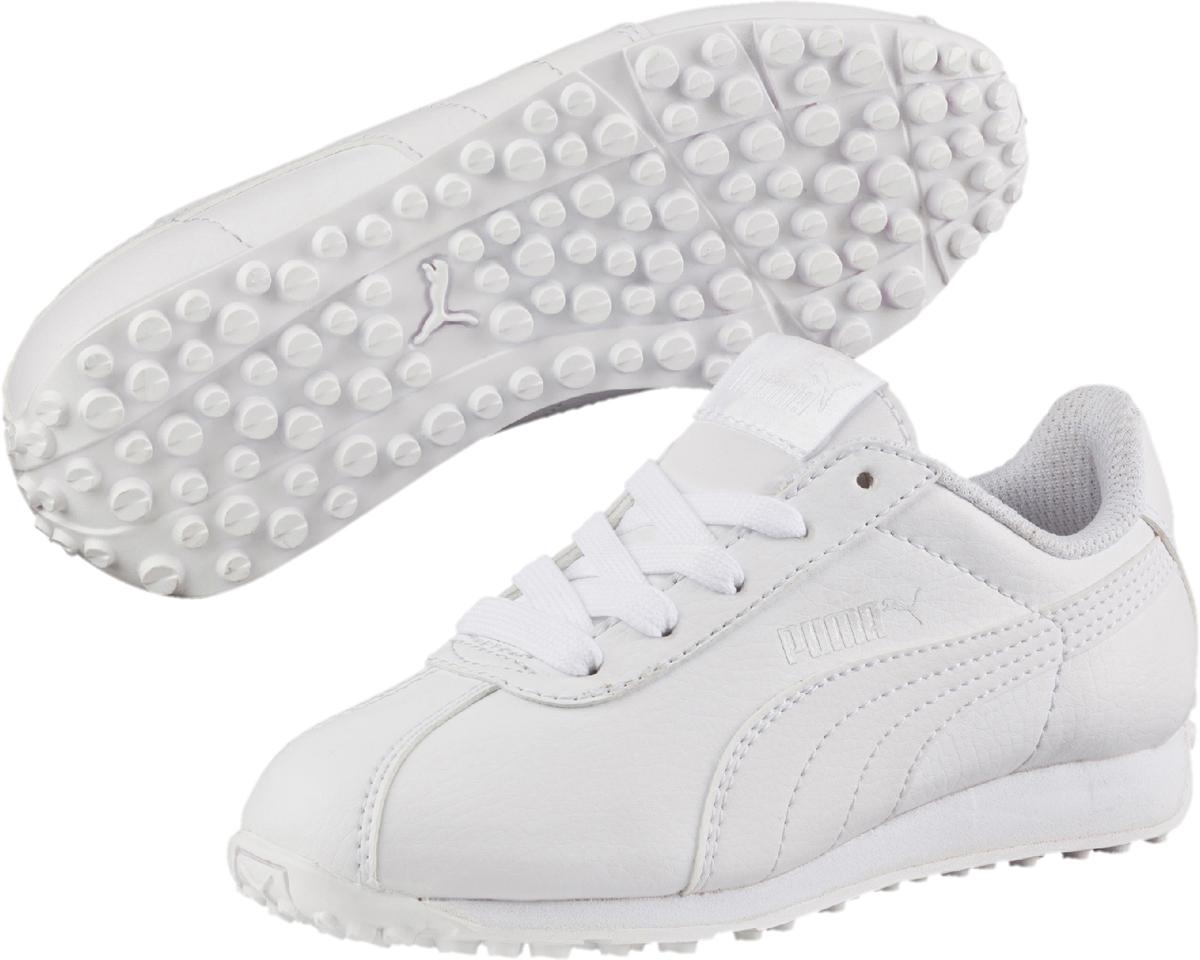 Кроссовки детские Puma Turin PS, цвет: белый. 36160006. Размер 9,5 (26,5)36160006Модель PUMA Turin стала классикой спортивного стиля, развивая дизайн, присущий традиционной футбольной обуви. Благодаря мягкой искусственной коже верха эти уличные кроссовки выглядят очень элегантно, а промежуточная подошва из ЭВА создает отличную амортизацию. Новый силуэт делает модель особенно актуальной в этом сезоне, превращая еe в лучший выбор стильной обуви на каждый день.Классическая шнуровка обеспечивает надежную фиксацию обуви на ноге ребенка. Подкладка выполнена из текстиля, что предотвращает натирание и гарантирует уют. Резиновая подошва с рифлением обеспечивает идеальное сцепление с любыми поверхностями.
