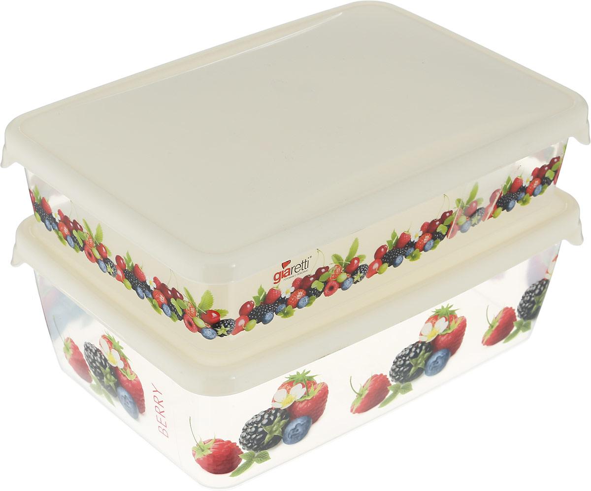 Комплект емкостей для продуктов Giaretti Браво, 2 предмета. GR1072МИКСGR1072МИКСЯркие, декорированные емкости для хранения и переноски продуктов. В них удобно замораживать ягоды, овощи, фрукты небольшими порциями, хранить специи, сладости, чай и другие продукты. Емкости представлены комплектами и штучно.
