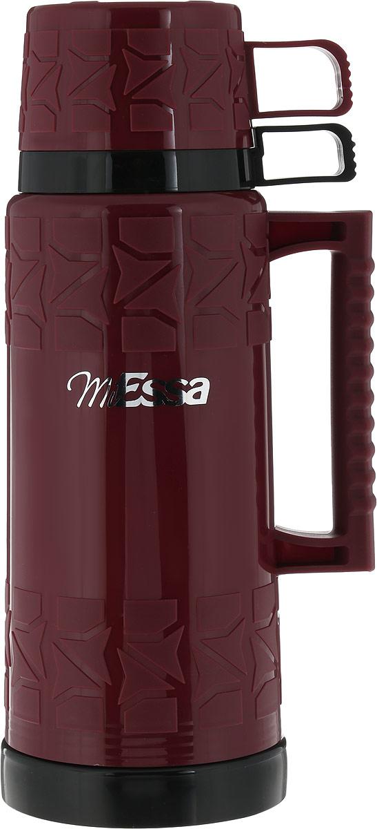 Термос MiEssa Aqua, с кружками, цвет: бордовый, 1 лMTR100_бордовыйТермос MiEssa Aqua, с 2 кружками, цвет: бордовый, 1 л